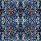 Modello di alta risoluzione senza cuciture Colourful ornamentale in blu, nel rosso e nel bianco royalty illustrazione gratis
