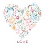 Modello di amore del cuore con i gufi. Fotografia Stock