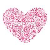 Modello di amore del cuore. Modello per la cartolina d'auguri romantica di progettazione Fotografia Stock