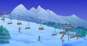 Modello di attività di svago di inverno di notte illustrazione vettoriale