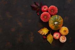 Modello di Autumn Floral con le dalie, la zucca e le foglie di autunno fotografie stock