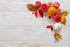 Modello di Autumn Floral con le dalie, mele, zucche fotografia stock
