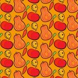 Modello di autunno con le zucche, le mele e le carote Illustrazione disegnata a mano di vettore royalty illustrazione gratis