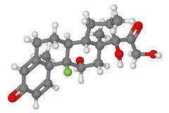 Modello di bastone e di sfera della molecola di dexamethasone Fotografie Stock Libere da Diritti