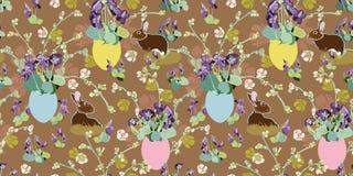 Modello di Brown con i fiori, il coniglietto e l'uovo di Pasqua illustrazione di stock