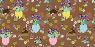 Modello di Brown con i fiori, il coniglietto e l'uovo di Pasqua royalty illustrazione gratis
