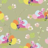 Modello di Brown con il coniglietto ed il nido di pasqua illustrazione di stock