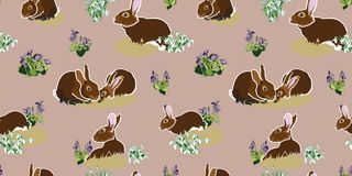 Modello di Brown con il coniglietto illustrazione di stock