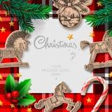 Modello di Buon Natale con i giocattoli e la decorazione d'oscillazione di Natale, illustrazione Fotografia Stock Libera da Diritti