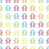 Il pixel senza cuciture dell'arcobaleno monkeys il modello Fotografie Stock Libere da Diritti