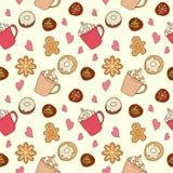Modello di caffè e dei dolci Fotografia Stock