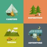 Modello di campeggio, icone Fotografia Stock