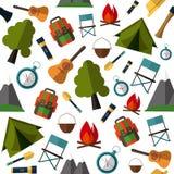 Modello di campeggio Tenda, mappa, bussola, zaino, Immagine Stock