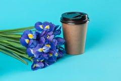 Modello di carta asportabile della tazza di caffè isolato su fondo blu immagine stock