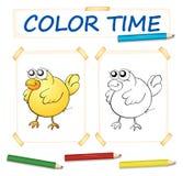 Modello di carta di coloritura con il pulcino giallo Fotografia Stock