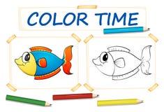 Modello di coloritura con il pesce Immagini Stock
