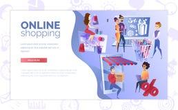 Modello di compera online di vettore del fumetto dell'insegna di web illustrazione di stock