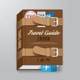 Modello di concetto dei bagagli di progettazione della guida di viaggio della copertina di libro Fotografie Stock Libere da Diritti