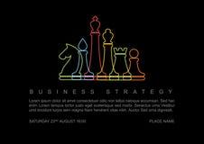 Modello di concetto di strategia aziendale di vettore con le figure di scacchi Immagine Stock