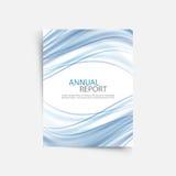 Modello di copertura blu del rapporto annuale dell'onda Opuscolo, disposizione del modello dell'aletta di filatoio, fondo dell'es illustrazione di stock