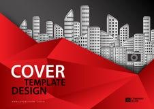 Modello di copertura rosso per industria di affari, Real Estate, costruzione, casa, macchinario orizzontale illustrazione vettoriale