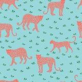 Modello di corallo senza cuciture del leopardo Illustrazione di vettore per il tessuto, cartolina, tessuto, carta da imballaggio, royalty illustrazione gratis