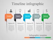 Modello di cronologia della freccia di Infographics Immagine Stock