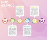 Modello di cronologia di Infographics con 6 opzioni sui diagrammi di cronologia illustrazione di stock