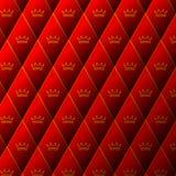 Modello di cuoio rosso del diamante con la corona Fotografie Stock Libere da Diritti