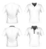 Modello di disegno della camicia di polo degli uomini con la casella Fotografie Stock