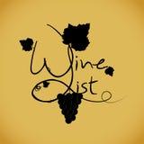 Modello di disegno della lista di vino Illustrazione di Stock