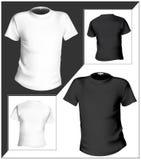 Modello di disegno della maglietta (parte anteriore & parte posteriore). Il nero e Fotografia Stock