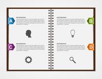 Modello di disegno di Infographics Apra il taccuino con il nastro variopinto Immagine Stock