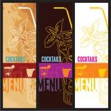Modello di disegno di scheda del menu dei cocktail Fotografia Stock