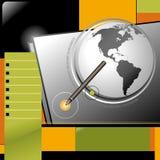Modello di disegno di Web del Internet della penna del globo di affari Immagine Stock