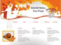 Modello di disegno di Web site di pallacanestro Fotografia Stock Libera da Diritti