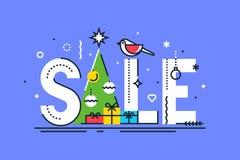 Modello di disegno di vendita di Natale Composizione in vendita di natale con le palle, i fiocchi di neve, l'albero di Natale ed  Fotografia Stock Libera da Diritti