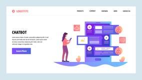 Modello di disegno di Web site di vettore Servizio online del bot e di servizio clienti di chiacchierata di AI Concetti della pag illustrazione di stock