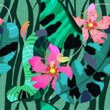Modello di estate/fondo senza cuciture, fiori tropicali, foglie della banana e linee della zebra Fotografia Stock
