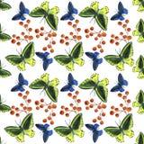 Modello di farfalle tropicale dell'acquerello Fotografia Stock Libera da Diritti
