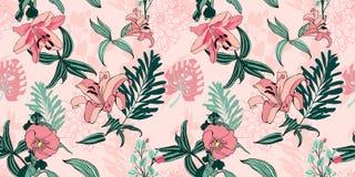 Modello di fiore artistico senza cuciture d'avanguardia originale, bello trop illustrazione di stock
