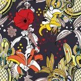Modello di fiore artistico senza cuciture d'avanguardia originale, bello trop royalty illustrazione gratis