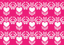 Modello di fiore astratto del cuore su colore rosa Fotografia Stock Libera da Diritti