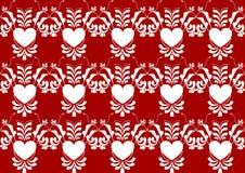 Modello di fiore astratto del cuore sul fondo di colore rosso Immagini Stock Libere da Diritti