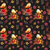 Modello di fiore del campo con gli uccelli illustrazione di stock