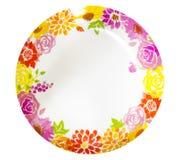 Modello di fiore della pittura del piatto Fotografia Stock