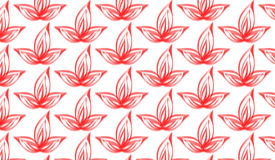 Modello di fiore rosso astratto moderno semplice del pennello Fotografia Stock