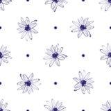 Modello di fiore senza cuciture, fiore disegnato a mano elegante Fondo minimo di bianco di progettazione Modello floreale per mod illustrazione vettoriale
