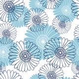Modello di fiore senza cuciture su fondo bianco Fiori blu Illustrazione di Stock