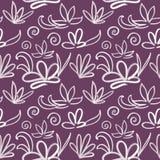 Modello di fiore senza cuciture su fondo porpora scuro royalty illustrazione gratis